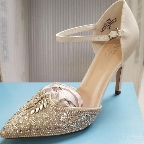 3ac557f204a Lulu s Adeline white rhinestone ankle strap heels